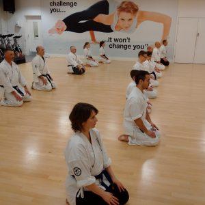 shizendo karate class kneeling ready